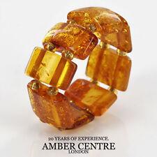 Rich Fiery Orange GERMAN BALTIC AMBER Handmade Elastic Ring RB038 RRP£35!!!