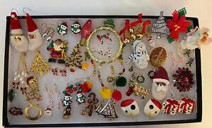 Large Bulk Lot of Women's Costume Jewelry, Christmas Themed Earrings,ETC
