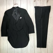 Vintage After Six Men's 42R Black Double Breasted Tailcoat Tuxedo 36R X 30 Pants