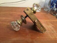 Antique/Vintage Glass Door Knob Hardware Lock Assembly Set