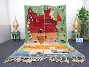 """Moroccan Boujaad Handmade Rug 5'8""""x8'7"""" Berber Abstract Red Green Wool Rug"""