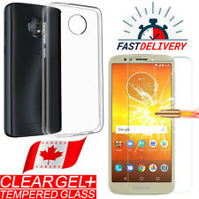 For Motorla Moto E5 Play Crystal Ultra Clear TPU Gel Case Cover + Tempered Glass