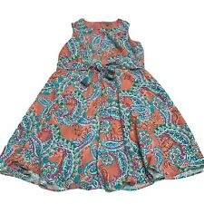 Jessica London Floral Paisley Multi Color Print Pattern Pleated Flared Dress 16W