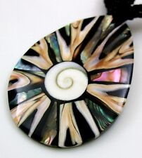 Natural Abalone Shell Cone Shell Shiva Eye Pendant Beads necklace Jewelry BA294