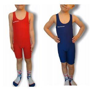 Kinder Ringertrikot BERKNER KIDS PACK Wrestling Anzug Singlet Rot und blau Set
