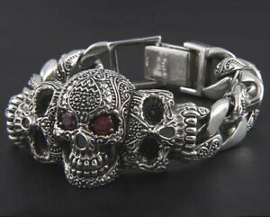 MENS AZTEC SKULL WITH RED CRYSTAL EYES SILVER 316L SSTEEL BRACELET FOR MEN 22CM