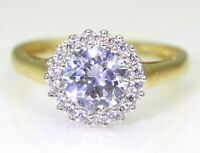 Sparkling DQ CZ Large Cluster 9ct Yellow Gold ring size L ~ 5 3/4