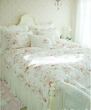 Shabby Chic Cottage Floral Quilt Duvet Cover Pillow Case Set White Ruffles Queen