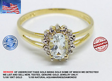 SOLID 10KT YELLOW GOLD 0.45CT NATURAL AQUAMARINE&DIAMONDS RING W/GIFT BOX WOMEN