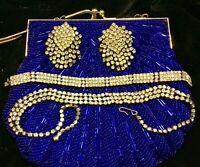 """Deco Rhinestone Choker Necklace 16"""" Bracelet 7""""Triple Row Prong set c Earrings"""