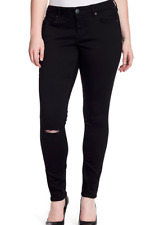 SLINK JEANS Ripped Knee Stretch Skinny Jeans MEGAN-BLACK PLUS Size18