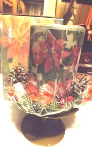 Large New Ros Enesco Poinsettia w Holly Berry Ring Candle Center Piece IOB