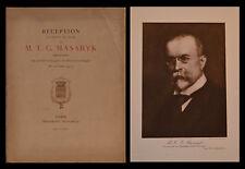 RÉCEPTION de M.T.G. MASARYK, PRÉSIDENT de la RÉPUBLIQUE TCHÉCOSLOVAQUE - 1924