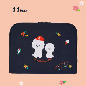 """10"""" 11"""" Bookle Bichon Dog Laptop Tablet ipad Padded Pouch Sleeve Clutch Bag Case"""
