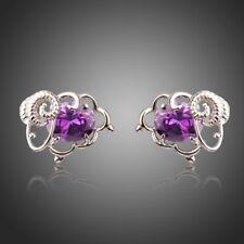 Fashion Sheep Oval Purple Cubic Zircon Stud Earrings Party Accessories Jewellery