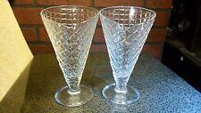 Two Vintage Glass Waffle Cone Soda Ice Cream Parfait Sundae Bowls Glasses Italy