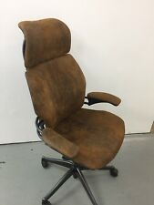 VINTAGE SHAABY CHIC BROWN LEATHERHUMANSCALE FREEDOM ERGONOMIC