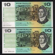 New listing Australia R-307a & 307b. (1979) 10 Dollars - Knight/Stone. Gothic & Ocrb. aU-Unc