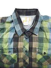 OP Men`s Vintage Plaid Long Sleeve Cotton Shirt Size X LARGE