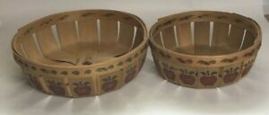 2 Baskets The Blackberry Lane Collection Apple Hand Stenciled Country Farmhouse
