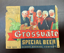 Grossvate Special Beer Label / Irtp / Early 1930'S
