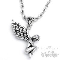 Hochwertiger nackter Engel Anhänger Edelstahl Flügel 55cm Kordelkette Halskette