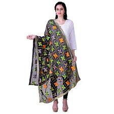 Women Embroidered Chiffon Phulkari Dupatta Tippet Scarf Traditional Wear