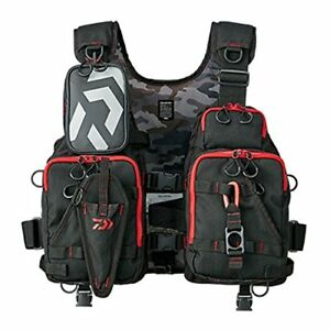 DAIWA FLOAT GAME VEST BLACK RED FREE SIZE DF-6206 NEW