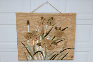 Don Freedman floral woven textile tapestry wall art hanging Jute & Silk 1988