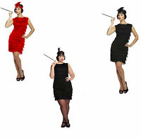 Ladies Sexy Black 1920s Fringed Flapper Girl Charleston Fancy Dress Costume