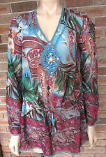 Sandra Steiner Jewel Embellished Flare Sleeve Tunic Blouse - Size S / 10