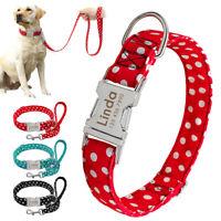 Personalized Dog Collar & Dog Leash Custom Engraved Heavy Duty Release Buckle