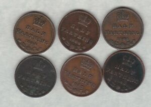 SIX 1844 VICTORIAN HALF FARTHINGS IN GOOD FINE TO VERY FINE CONDITION