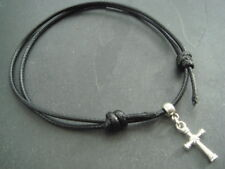 2mm black nylon cord anklet adjustable with silver cross charm