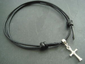 2mm black cord friendship bracelet with silver cross charm