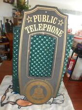 Vtg Pay Telephone Black Sand Smalts Cover Sign 1977