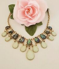 Gorgeous Gold Tone Bib Necklace with Peacock & Mint Colors Plastic Stones 21""