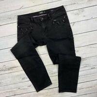 Nanette Lepore Girlfriend Jeans Size 10 Womens Black Stretch Denim Rhinestones