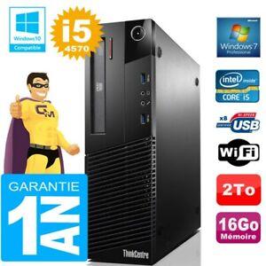 PC Lenovo M93p SFF Core I5-4570 Ram 16Go Disque 2 To Graveur DVD Wifi W7
