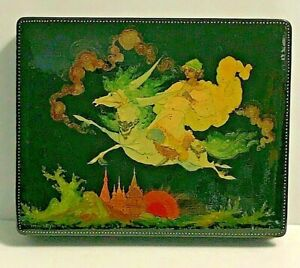 Vintage Russian  Lacquer Box Artist Signed Fantasy with Presentation Box