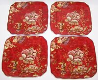 "STUNNING 222 FIFTH SET OF 4 GABRIELLE RED SQUARE 6 1/4"" DESSERT/APPETIZER PLATES"