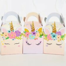** SOLD OUT **~ 6x Unicorn Lolly Loot Bag Box. Party Cake Topper Banner Bunting