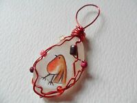 Robin red breast - Hand painted sea glass Christmas tree decoration