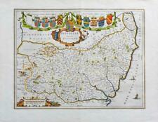c1648 Large Antique Map of SUFFOLK SUFFOLCIA by Blaeu RARE Latin Edition  (LM11