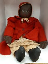 "OOAK 20"" Black Cloth Folk Art Vintage Doll by Joanies Tenn. W/ Hand painted face"