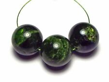 3 pcs CHROME DIOPSIDE Green 15mm Round Beads NATURAL /R4