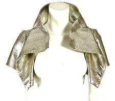 OSCAR DE LA RENTA NWT Metallic Silver Python Skin Cropped Bolero Jacket 6