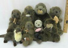 Ganz Fiesta Soundprints 8 River Sea Otter Plush Collection Stuffed Animal Lot