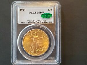 1924 $20 ST-GAUDENS DOUBLE EAGLE GOLD COIN PCG MS64 CAC VERIFIED BEAUTIFUL COIN!