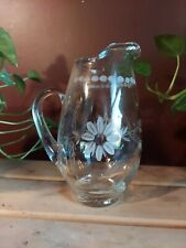 Vintage Mouth Blown Glass Pitcher Hand Etched Daisies, Stem & Leaves European